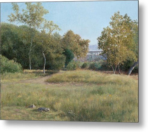 Landscape Metal Print featuring the painting Morning In The Arroyo Seco by Laura Wynne