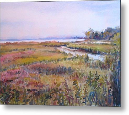 Watercolor Metal Print featuring the painting North Fork Marsh by Joyce Kanyuk