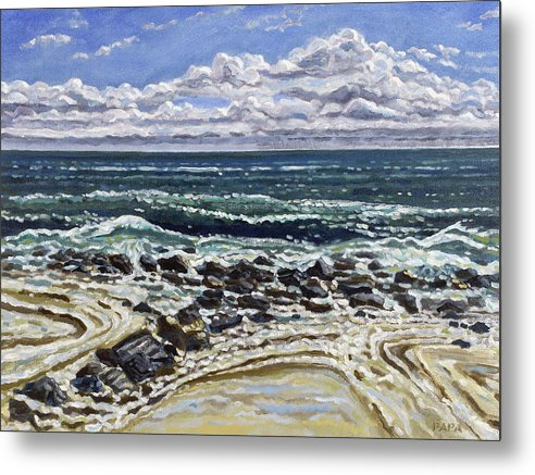 Ocean Metal Print featuring the painting Patterns In The Sand by Ralph Papa