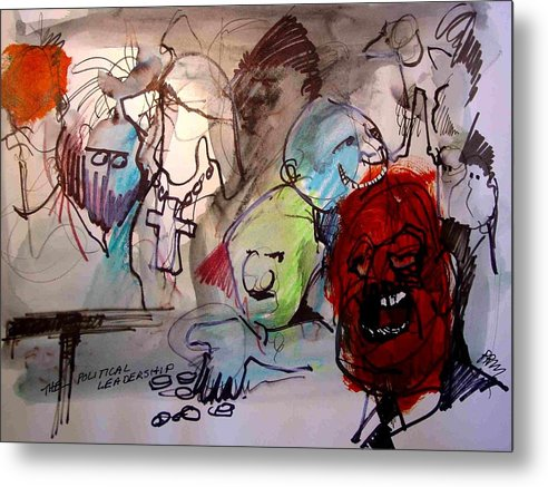 Satrical Metal Print featuring the painting Political Leadership by Paul Miller