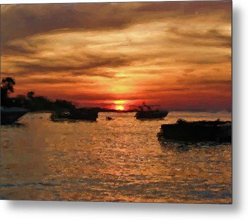 Ocean Metal Print featuring the pastel Samed Island Sunrise by Bates Clark