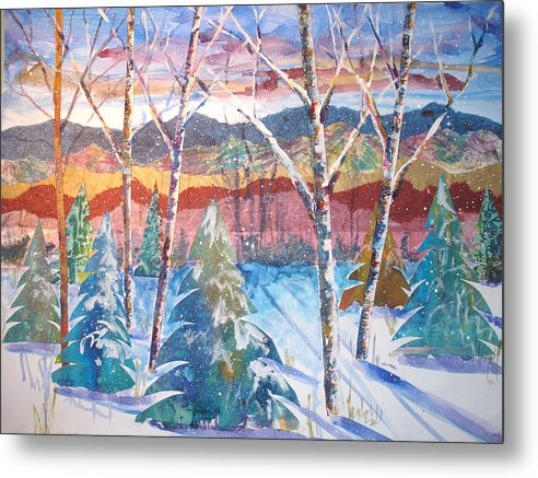 Landscape Metal Print featuring the mixed media snowy Afternoon by Joyce Kanyuk