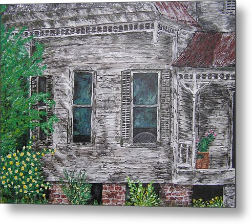 House Metal Print featuring the painting Solitude Awaits by Ricklene Wren