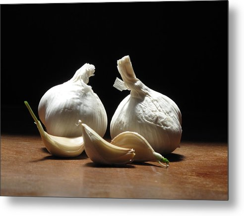 Garlic Metal Print featuring the photograph Still Life With Garlic by Jeannette Scranton