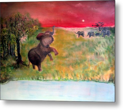 Wildlife Metal Print featuring the painting The Calling - Elephants On The Serengeti by Michela Akers