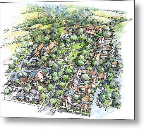 Architecture Country Metal Print featuring the drawing Township by Andrew Drozdowicz