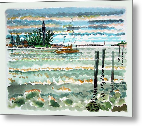 Lighthouse Metal Print featuring the painting View Of Lighthouse Point by Ralph Papa
