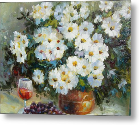 Still Life Metal Print featuring the painting Wine And Flowers by Imagine Art Works Studio