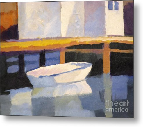 Little Boat Metal Print featuring the painting Little Boat by Lutz Baar