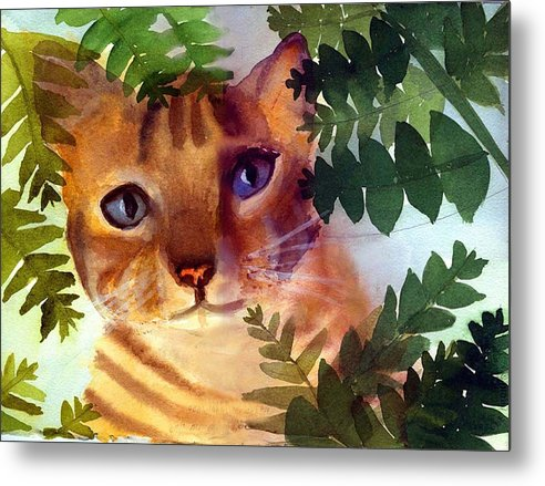 A Pet Cat Hides Behind Palms Metal Print featuring the print Hide And Seek Cat by George Markiewicz