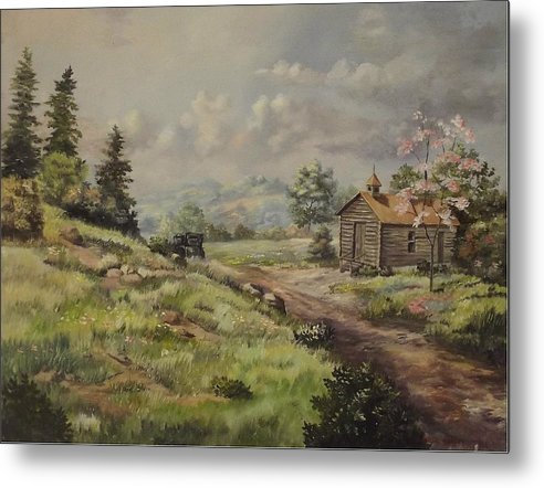 Landscape Metal Print featuring the painting Church In The Ozarks by Wanda Dansereau