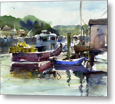 Fishing Boats Maine Waterscapes Lobster Boats Dock New England Metal Print featuring the painting Blue Dinghy by Gordon France