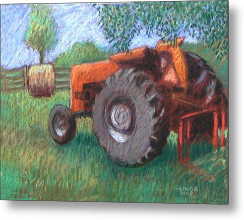 Tractor Metal Print featuring the painting Farm Relic by Gainor Roberts