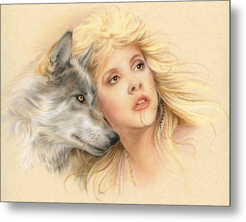 Stevie Nicks Metal Print featuring the drawing Beauty And The Beast by Johanna Pieterman