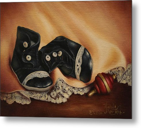 Still Life Metal Print featuring the painting Boots by Michelle Kerr