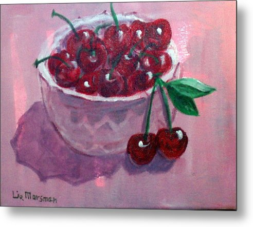 Cherries Metal Print featuring the painting Bowl Of Cherries by Lia Marsman