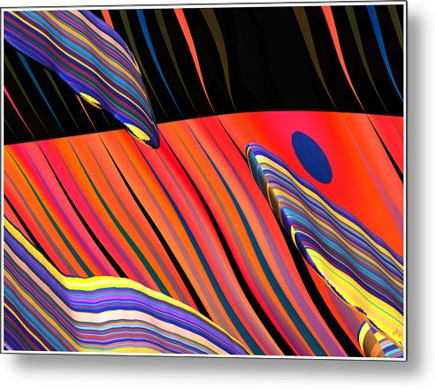 Abstract Art; Digital Fine Art; Calligraphy; Bryce Renderings Metal Print featuring the digital art kali.fa-Papillon - Callg. 10z11m9 by Terry Anderson