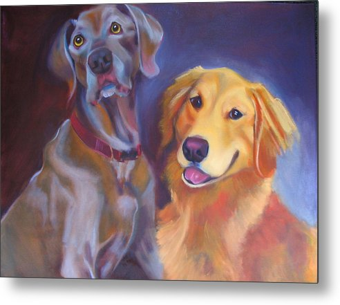 Dog Portrait Metal Print featuring the painting Maddy And Teddy by Kaytee Esser