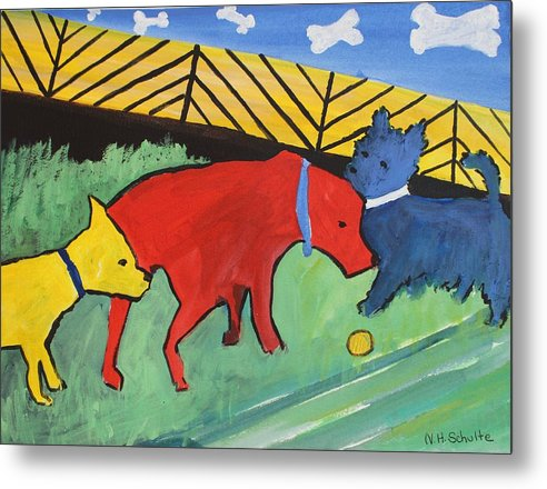 Dogs Metal Print featuring the painting Primary Cousins by Nancy Henkel Schulte