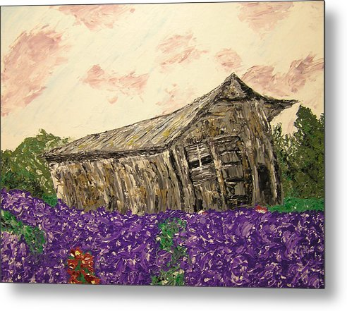 Landscape Metal Print featuring the painting Return To Serenity by Ricklene Wren