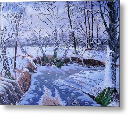 Winter Scene Metal Print featuring the painting Sulphur Creek Snowfall by Seth Wade