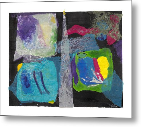 Expressionism Metal Print featuring the mixed media Night Light by Nancy Brockett