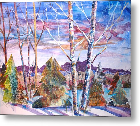 Landscape Metal Print featuring the mixed media Winter Day by Joyce Kanyuk