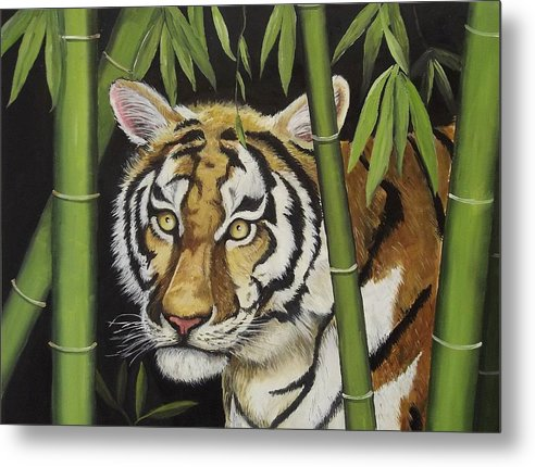 Tiger Metal Print featuring the painting Hiding In The Bamboo by Wanda Dansereau