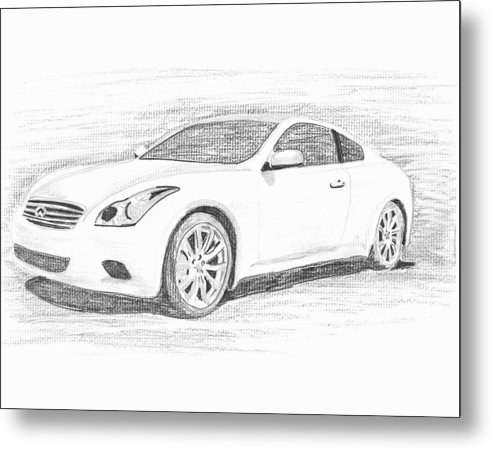 Pencil Drawings Metal Print featuring the drawing Infinity G37 Coupe by John Jones