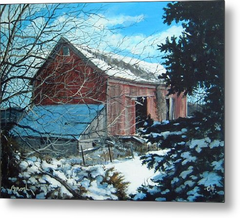 Barn Metal Print featuring the painting Parker Road Barn by William Brody