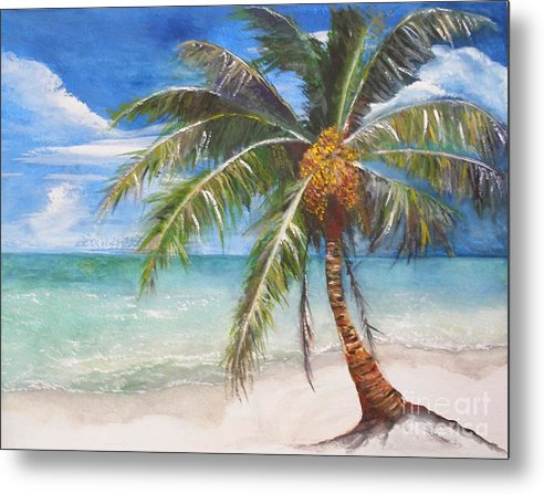 Palm Metal Print featuring the painting Dessert Palm by Sibby S