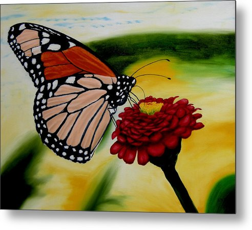 Butterfly. Flowers. Garden. Realism. Metal Print featuring the painting Monarch by Ivan Rijhoff