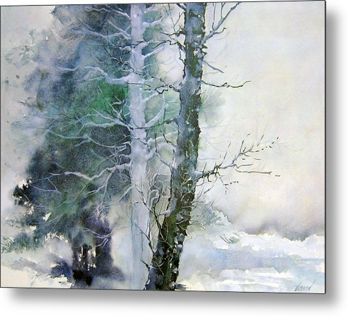 Trees Metal Print featuring the painting Alders And Cedar by Dale Witherow