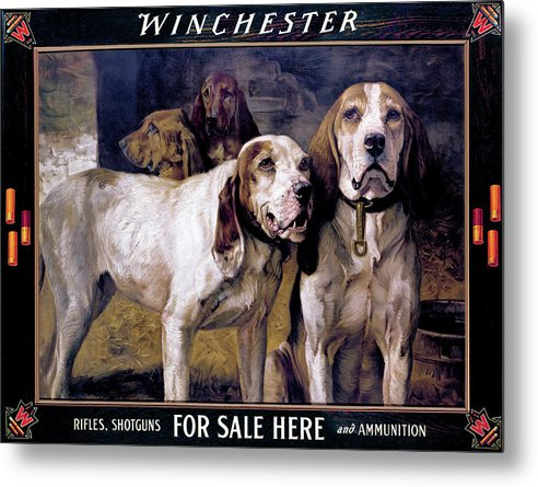 Dogs Metal Print featuring the painting Bear Dogs by H R Poore
