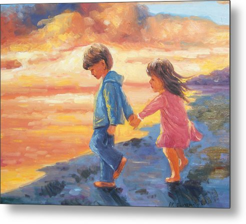 Children Water Sunset Metal Print featuring the painting Children At Sunset by Imagine Art Works Studio