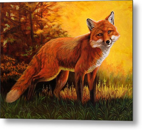Animals Metal Print featuring the painting Lone Fox by Pat Lewis