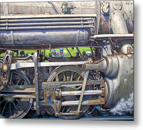 Train Metal Print featuring the painting Oiling The 28 by Gary Symington