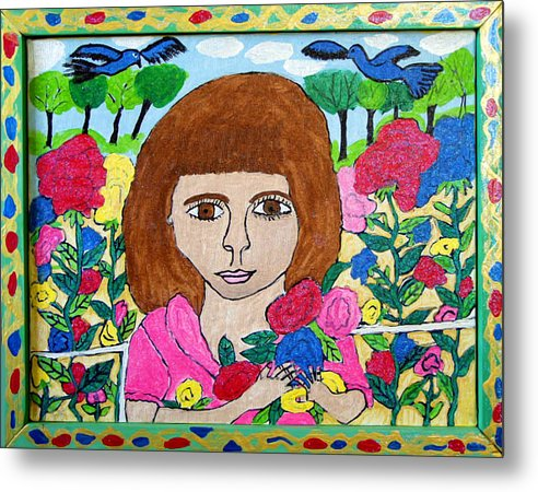 Rose Flowers Child Birds Metal Print featuring the painting Rose by Betty Roberts