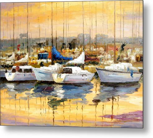 Seascape Metal Print featuring the painting Where Did I Park My Boat by Imagine Art Works Studio
