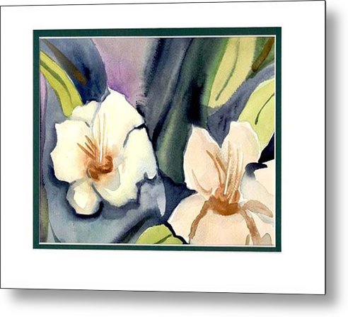 White Flowers Metal Print featuring the painting White Flowers by Janet Doggett