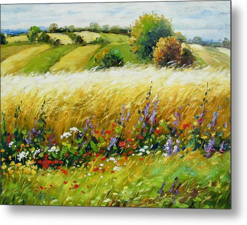 Landscape Metal Print featuring the painting Wild Flowers by Imagine Art Works Studio