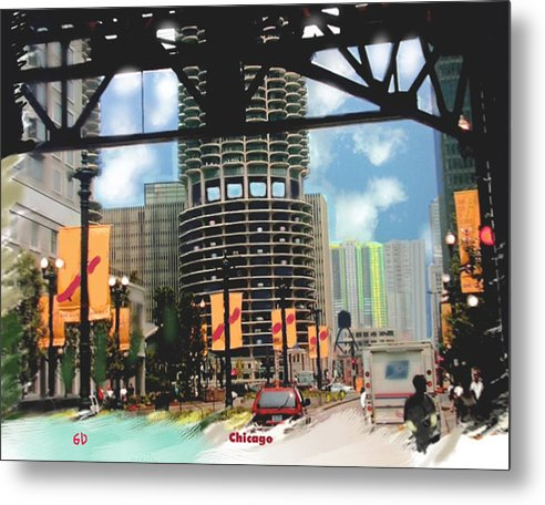 Cityscape Metal Print featuring the digital art Marina Towers - Chicago by Gene Derow