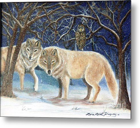 Wolves Metal Print featuring the painting Night Life In The Forest by Lora Duguay