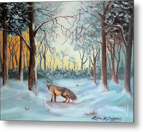 Fox Metal Print featuring the painting The Sneaky Red Fox by Lora Duguay