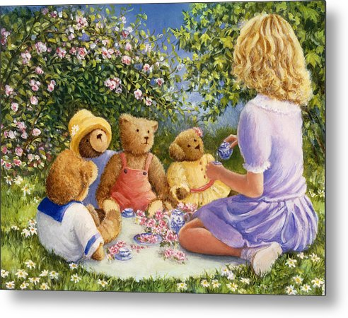 Teddy Bears Metal Print featuring the painting Afternoon Tea by Susan Rinehart