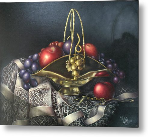 Still Life Metal Print featuring the painting Brass Basket by Michelle Kerr
