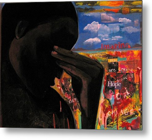 African American Metal Print featuring the painting Crying Man Change by Joyce Owens