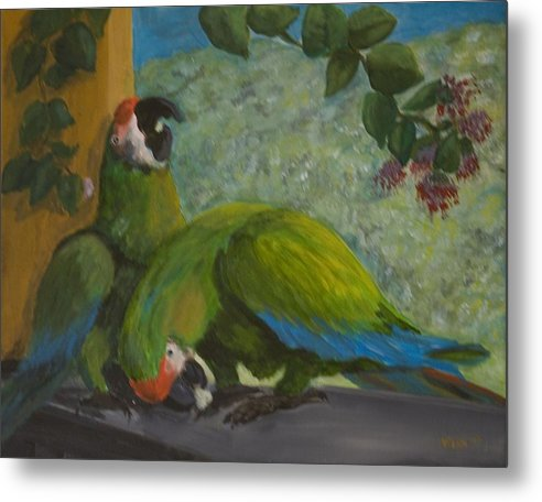 Birds Metal Print featuring the painting Garden Parrots by Anita Wann