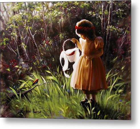 Metal Print featuring the painting Girl With Basket Of Roses by Stephen Lucas