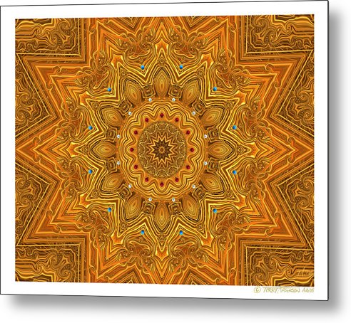 Kaleidoscope; Golden Mandala; Gold Metal Print featuring the digital art kaleido Prf10 X7x 17b by Terry Anderson